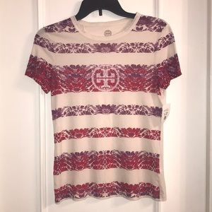 Tory Burch T-Shirt XS creme color with purple/red